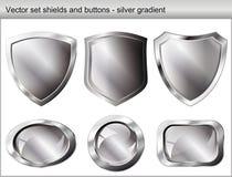 vektor för set sköld för knappillustration blank Royaltyfri Bild