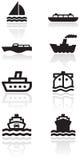 vektor för set symbol för fartygillustration Royaltyfri Foto