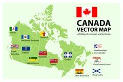vektor för set för tecknad filmhjärtor polar Översikt av Kanada med landskap och territoriumflaggor royaltyfri illustrationer