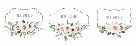 vektor för set för tecknad filmhjärtor polar Tappningetiketter med blommor Ramgräns med kopieringsutrymme royaltyfri illustrationer