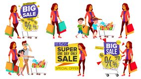 Vektor för shoppingkvinnauppsättning Folk i galleria Familj barn Inhandla begrepp lycklig shoppare Hållande pappers- packar royaltyfri illustrationer