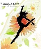 vektor för silouette för bakgrundskvinnlig blom- Royaltyfria Bilder