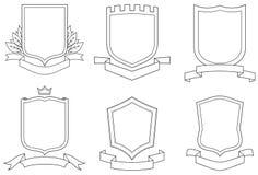 vektor för sköldar för vapenemblems scrolls inställd royaltyfri illustrationer