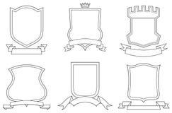 vektor för sköldar för vapenemblems scrolls inställd vektor illustrationer