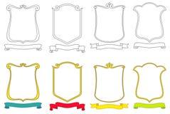 vektor för sköldar för vapenemblems scrolls inställd Royaltyfri Fotografi