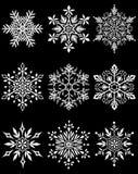 vektor för snowflake för bakgrundsblue set royaltyfri illustrationer