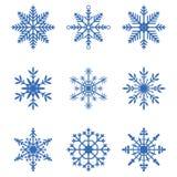 vektor för snowflakes för illustration för samlingsdesignelement Uppsättning av snösymboler Övervintra garneringbeståndsdelar för vektor illustrationer