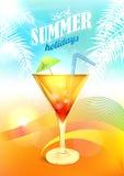 Vektor för sommarferier med coctailen Royaltyfri Foto