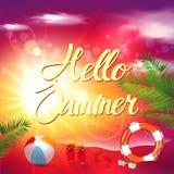 Vektor för sommarstrandbakgrund Arkivfoto