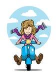 Vektor för sparkcykelflickahipster Vektor Illustrationer