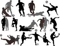 vektor för spelaresilhouettesfotboll Royaltyfria Bilder
