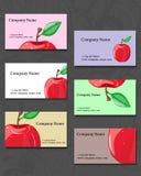 vektor för stil för logo för illustration för affärskort corporative Illustration av ett rött äpple Royaltyfri Foto