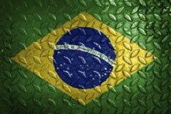 vektor för stil för tillgänglig brazil flagga glass metalltextur på bakgrund Royaltyfria Foton