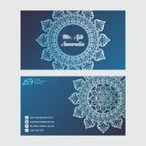 vektor för stil för logo för illustration för affärskort corporative dekorativ elementtappning Dekorativa blom- affärskort, orien arkivfoto