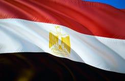 vektor för stil för tillgänglig egypt flagga glass vinkande design för flagga 3D Det nationella symbolet av Egypten, tolkning 3D  royaltyfri illustrationer