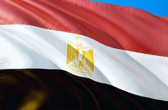 vektor för stil för tillgänglig egypt flagga glass vinkande design för flagga 3D Det nationella symbolet av Egypten, tolkning 3D  vektor illustrationer