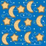 vektor för stjärnor för bakgrundsmånadnatt stock illustrationer