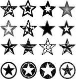 vektor för stjärnor för grungeillustration set Arkivbild