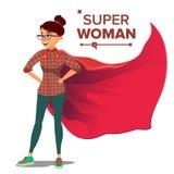 Vektor för Superheroaffärsfolk Lyckad Superheroaffärskvinna och man i handling Ung yrkesmässig chef royaltyfri illustrationer