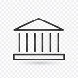Vektor för symbol för bankbyggnad, linjär design, vektorillustration Redigerbar slaglängd vektor illustrationer
