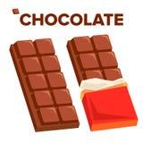 Vektor för symbol för chokladstång Mörk öppnad smakstång Isolerad plan tecknad filmillustration stock illustrationer