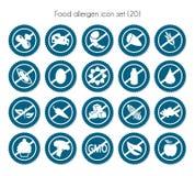 Vektor för symbol för etikettmatallergen fastställd stock illustrationer