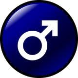 vektor för symbol för blå knappgenus male rund Arkivfoton