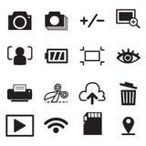 Vektor för symbol för illustration för kamerafunktionslägesymboler Arkivfoto