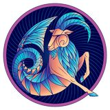 Vektor för symbol för horoskop för Stenbockenzodiaktecken blå stock illustrationer