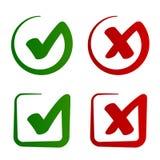 Vektor för symbol för kontrollfläck godkänd kasserad Royaltyfria Bilder