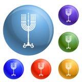 Vektor för symboler för Chanukkahstearinljusställning fastställd vektor illustrationer