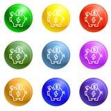 Vektor för symboler för ekonomiräddningspargris fastställd stock illustrationer