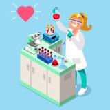 Vektor för symboler för kliniskt laboratoriumfolk isometrisk royaltyfri illustrationer