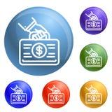 Vektor för symboler för korruptionpengarfall fastställd royaltyfri illustrationer