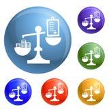 Vektor för symboler för pengarbestickningjämvikt fastställd royaltyfri illustrationer