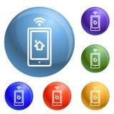 Vektor för symboler för Smartphone huskontroll fastställd royaltyfri illustrationer