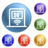 Vektor för symboler för Wifi temperaturkontroll fastställd stock illustrationer