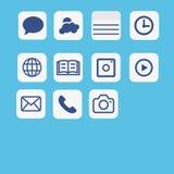 Vektor för symbolsapplikationuppsättning Multimediasymbolsuppsättning på blått Royaltyfri Foto