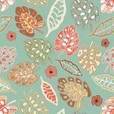 Vektor för Tan Border Print Tropical Floral modellbakgrund vektor illustrationer