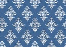 Vektor för tapet för lyxig sömlös modell blom- blå och vit, royaltyfri illustrationer
