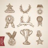 Vektor för tappning för gravyr för attribut för vinnare för seger för kopptrofémedalj stock illustrationer
