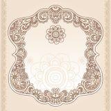 vektor för tatuering för henna för ram för designklotterblomma stock illustrationer