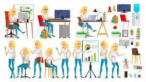 Vektor för tecken för affärskvinna I handling kontor IT Start Affär Företag Blond elegant modern flicka möte royaltyfri illustrationer