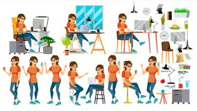 Vektor för tecken för affärskvinna I handling IT Start Affär Företag Miljöprocess planläggning cartoon vektor illustrationer
