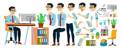Vektor för tecken för affärsman Funktionsduglig asiatisk man affären startar upp modernt kontor Kodifiera programvaruutveckling royaltyfri illustrationer