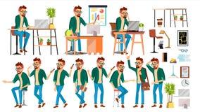 Vektor för tecken för affärsman Uppsättning för funktionsdugligt folk för Hipster Kontor idérik studio arbetare Full längd progra vektor illustrationer