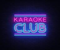 Vektor för tecken för karaokeklubbaneon Tecken för neon för karaokedesignmall, ljust baner, neonskylt, nightly som är ljus vektor illustrationer