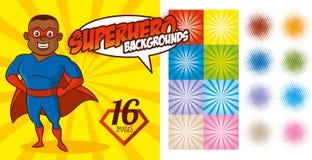 Vektor för tecken för toppen hjälte för Superherobakgrundsuppsättning Royaltyfria Foton