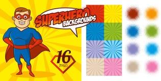 Vektor för tecken för toppen hjälte för Superherobakgrundsuppsättning Arkivfoto