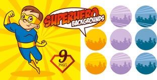 Vektor för tecken för toppen hjälte för Superherobakgrundsuppsättning Fotografering för Bildbyråer
